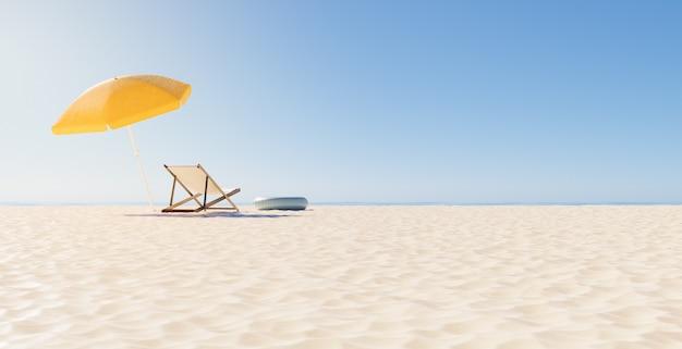 Rückansicht eines stuhls mit regenschirm am strand und klarem horizont. sommerferienkonzept. 3d-rendering
