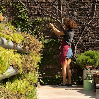 Rückansicht junge frau, die sich um pflanzen kümmert