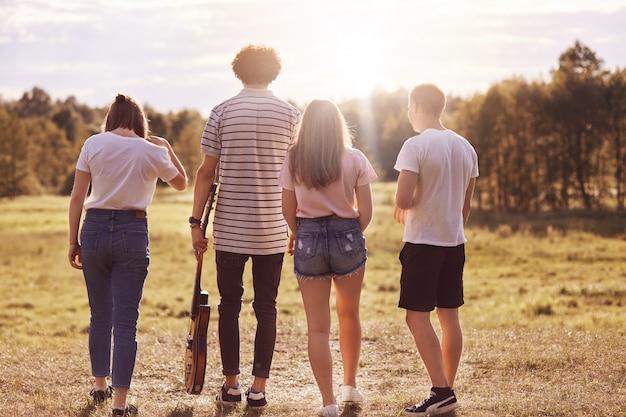 Rückansicht von vier freunden spazieren über die wiese, halten akustikgitarre, unterhalten sich angenehm, erholen sich im sommer, genießen sonnenschein