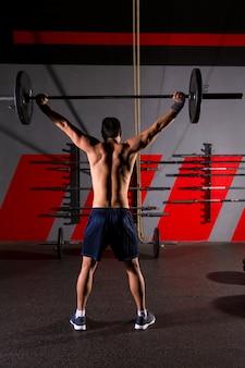 Rückentraining workout-fitnessstudio des barbell-gewichthebens