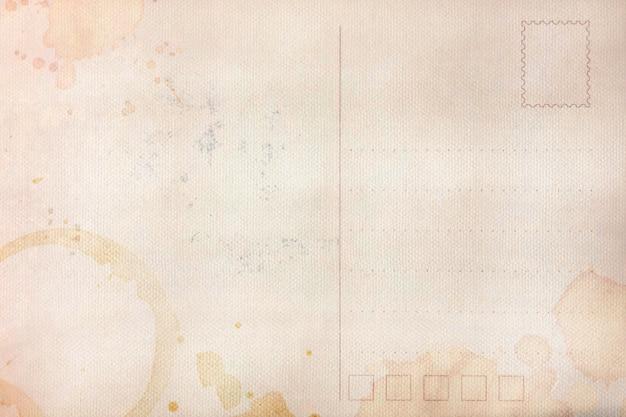 Rückseite der alten postkarte mit schmutzigem fleck