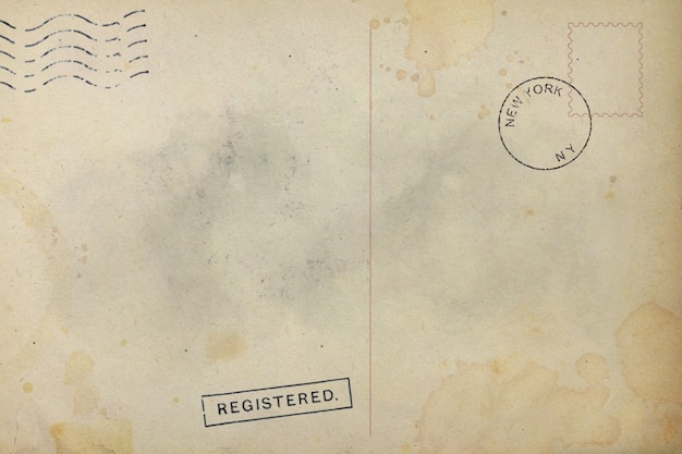 Rückseite der alten postkarte schmutziger fleck
