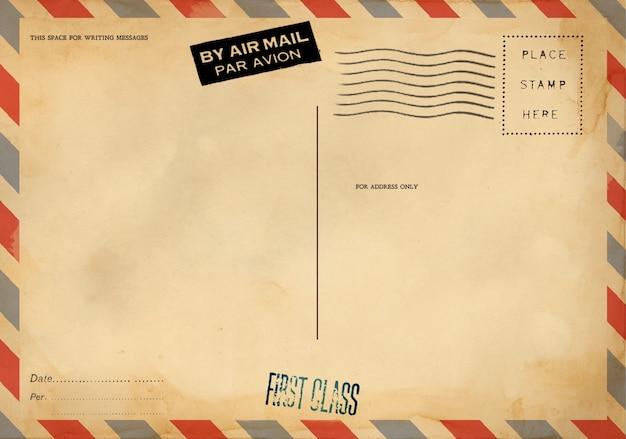 Rückseite der leeren postkarte mit schmutzigem fleck