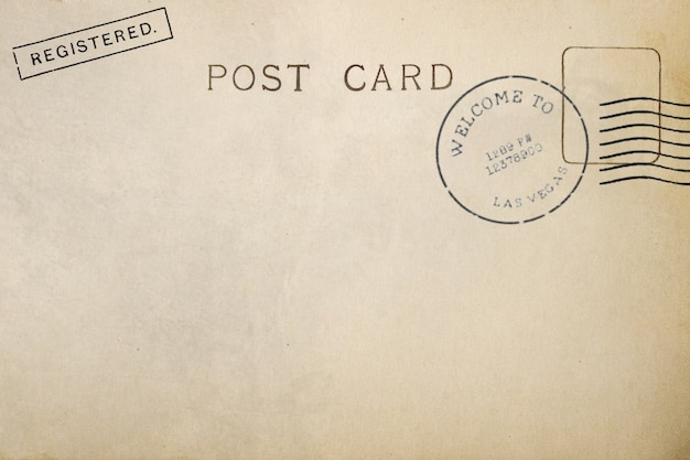 Rückseite der postkarte mit schmutzigem fleck