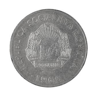 Rückseite von 1 leu münze rumänien geld auf einem weißen hintergrundfoto isoliert