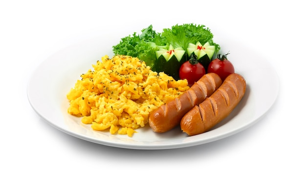 Rührei serviert saucenage gekochtes gericht zum frühstück
