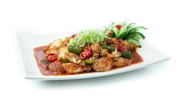 Rühren sie gebratenes schweinefleisch mit kimchi korean food style decorate
