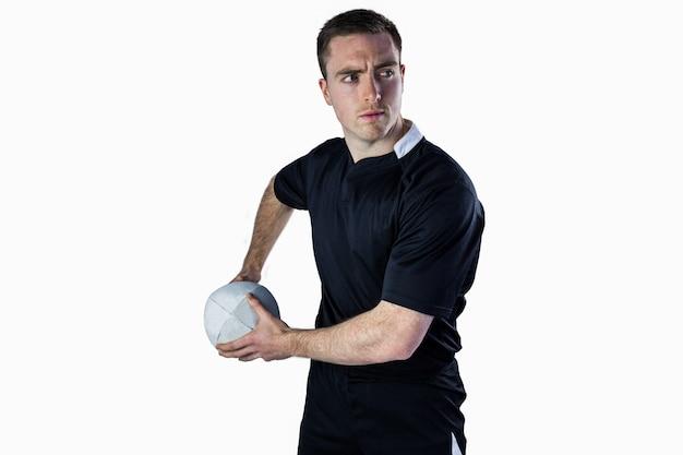 Rugbyspieler, zum eines rugbyballs zu werfen