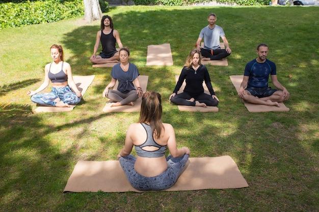 Ruhige friedliche menschen, die im park meditieren