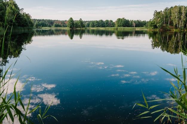 Ruhige landschaft an einem see mit dem strahlend blauen himmel