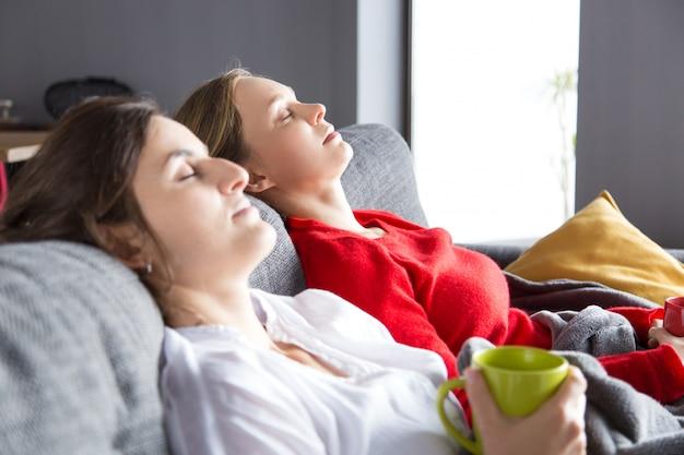 Ruhige mitbewohner, die auf couch über tasse tee stillstehen