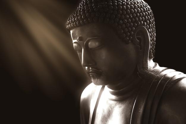 Ruhiger buddha mit licht der klugheit, ruhige asiatische buddha-zen-tao-religionskunst-artstatue