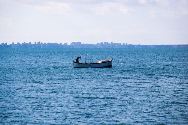 Ruhiger ozean mit einem boot unter bewölktem himmel