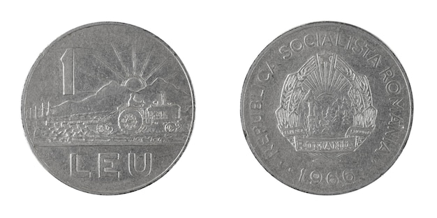 Rumänien 1 leu münze 1966 isoliert auf einem weißen hintergrundfoto