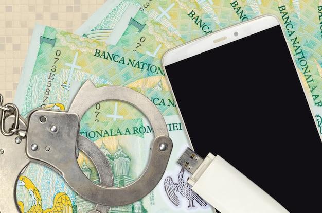 Rumänische leu rechnungen und smartphone mit polizei handschellen