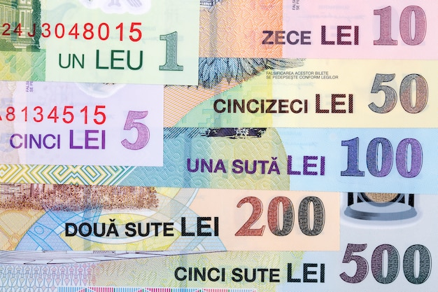 Rumänisches geld - leu eine geschäftsoberfläche