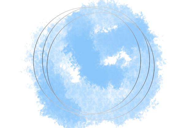 Runde abstrakte logo-hintergrundillustration in silberner farbe mit pastellblauem hintergrund