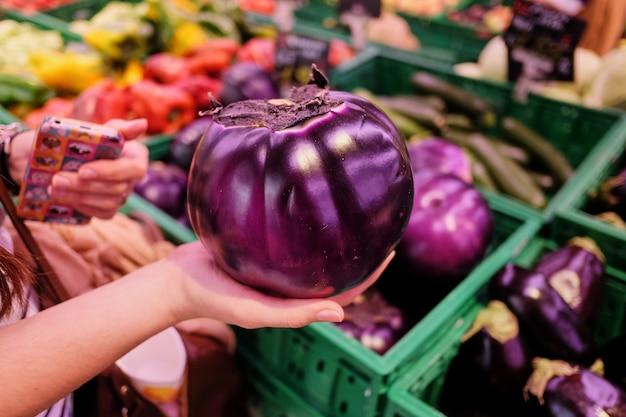 Runde aubergine in den bauernhofhänden gegen den hintergrund einer rustikalen steinwand. ökologische produkte