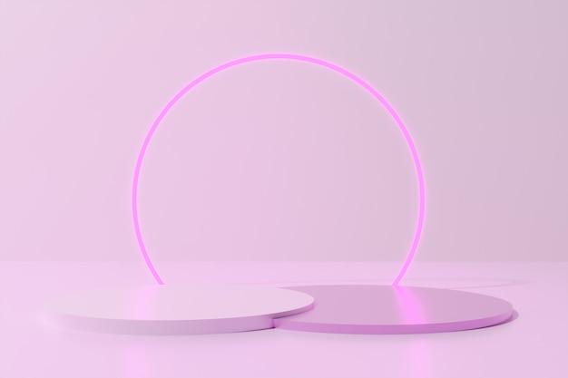 Runde farbpodeste der rosa farbe 3d rendern mit neonring auf monochromem hintergrund