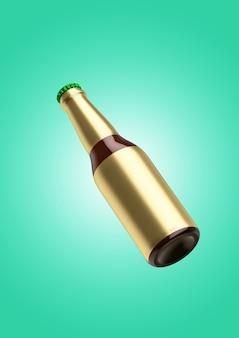 Runde flasche mit leerem goldfolienetikett isoliert. bier-fiesta-konzept.