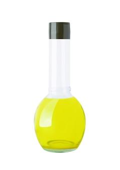 Runde flasche mit oliven, sonnenblumen, maisöl oder anderen flüssigkeiten