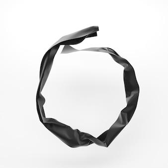 Runde form des abstrakten gewebes. gewelltes tuch. 3d-rendering. Premium Fotos