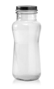 Runde form glaskanister isoliert auf weißem hintergrund beschneidungspfade