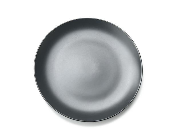Runde graue platte für hauptgerichte isoliert
