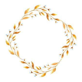 Runder aquarellrahmen mit goldenen blumenzweigen und weidenzweigen, getrocknete blumen auf einem weißen hintergrund