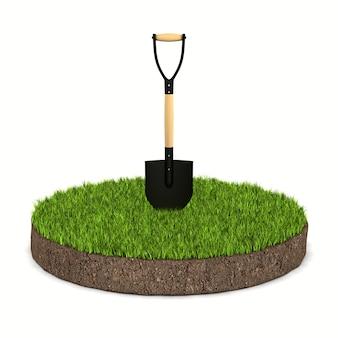 Runder bodenboden mit grünem gras und schaufel auf weißem hintergrund. isolierte 3d-darstellung