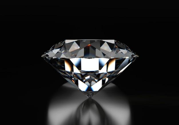 Runder diamant lokalisiert auf schwarzem reflexionshintergrund, 3d illustration.