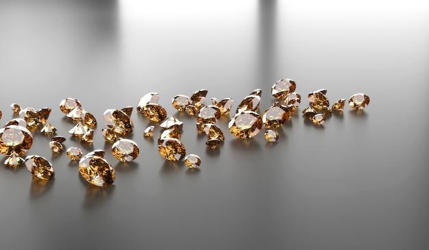 Runder diamanttopas edelstein auf dunkler reflexionshintergrund 3d-darstellung platziert