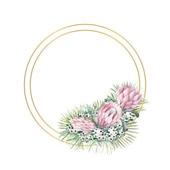 Runder goldrahmen mit protea-blüten, tropischen blättern, palmblättern, bouvardia-blüten