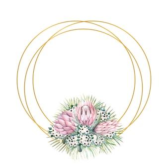 Runder goldrahmen mit proteablüten, tropischen blättern, palmblättern, bouvardienblüten