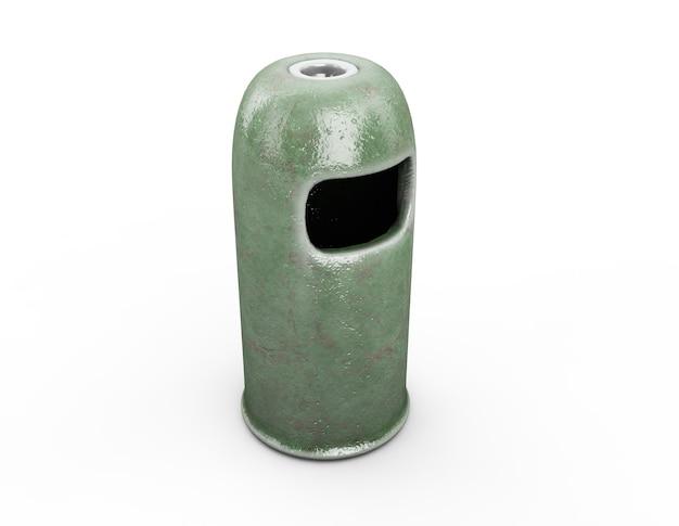 Runder papierkorb - grüne farbe, 3d-rendering