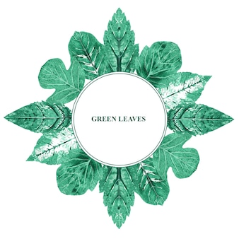 Runder rahmen mit grünen blättern