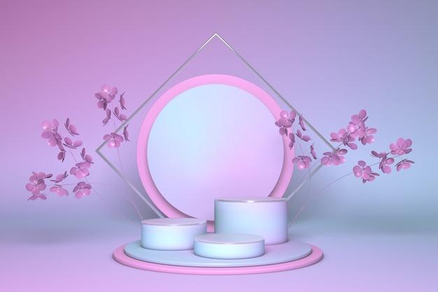 Runder sockel des botanischen hintergrunds 3d rendern, der mit rosa frühlingsblumen verziert wird