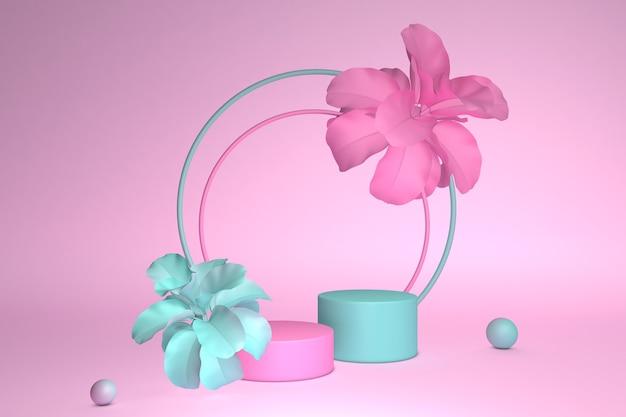 Runder sockel des pastellhintergrunds des 3d-renderns, verziert mit rosa frühlingsblumen