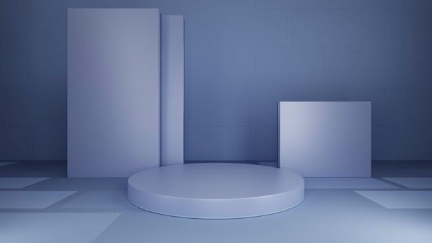 Runder sockel, grauer hintergrund, abstrakte, quadratische hintergrunddekoration. 3d-rendering