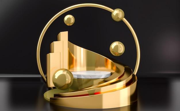 Rundes podium aus gold und weiß mit goldenen kugeln auf schwarzem hintergrund