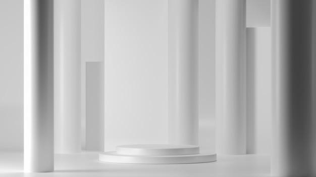 Rundes podium für die produktpräsentation. abstrakter leerer sockel, plattform für produktanzeige.