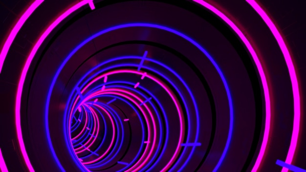 Running in neon light circle tunnel hintergrundbild in der retro- und fashion-party-szene.