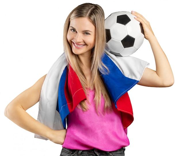 Russischer fußballfan lokalisiert auf weiß