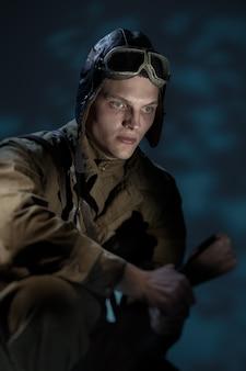 Russischer pilot des zweiten weltkriegs.