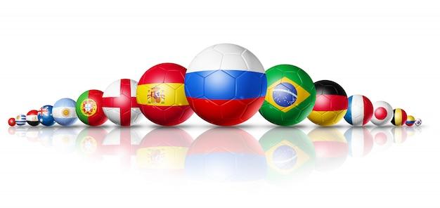 Russland 2018. fußballfußbälle mit teamstaatsflaggen