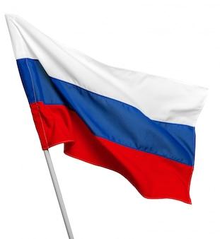 Russland fahnenschwenkend auf weißem hintergrund