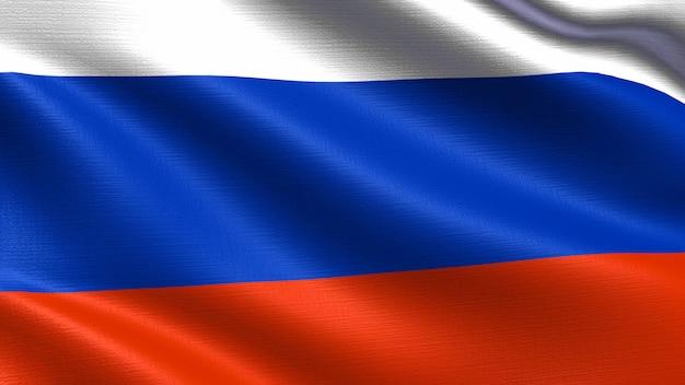Russland-flagge, mit wellenartig bewegender gewebebeschaffenheit