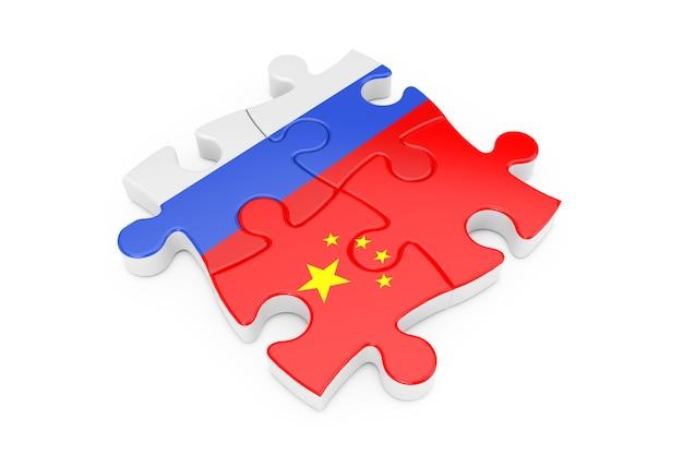 Russland und ukraine kooperation puzzle als flaggen auf weißem hintergrund. 3d-rendering