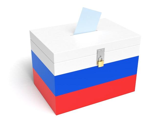 Russland-wahlurne mit russischer flagge. isoliert auf weißem hintergrund.