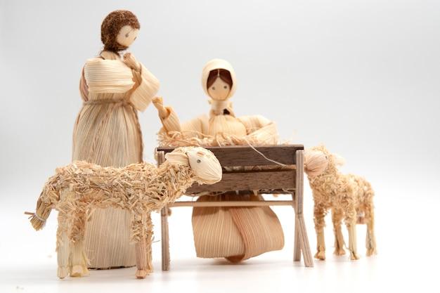 Rustikaler hintergrund und leerstelle der baby jesus christmas-karte